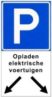 Verkeersbord - parkeerplaats voor opladen elektrische voertuigen